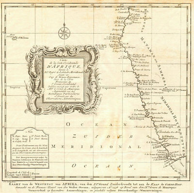 'Coste Occidentale d'Afrique'. Namibia South Africa BELLIN/SCHLEY 1747 old map