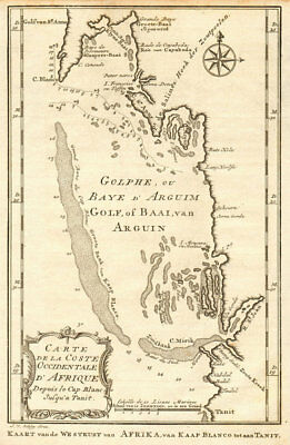 'Coste Occidentale d'Afrique'. Bay of Arguin, Mauritania. BELLIN/SCHLEY 1747 map