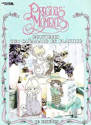 PRECIOUS MOMENTS BOUTIQUE TISSUE COVERS Plastic Canvas Book 10 Designs Spanish!