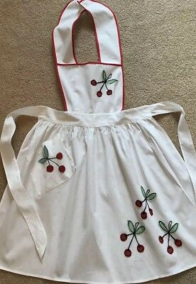 Vintage Full Pinafore Cobbler Apron CHERRIES Appliqué Embroidered One Pocket