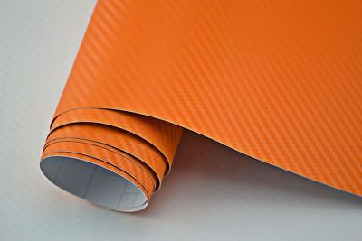 Carbon Folie BLASENFREI  ORANGE   100 x 152 cm Autofolie Klebefolie flexibel