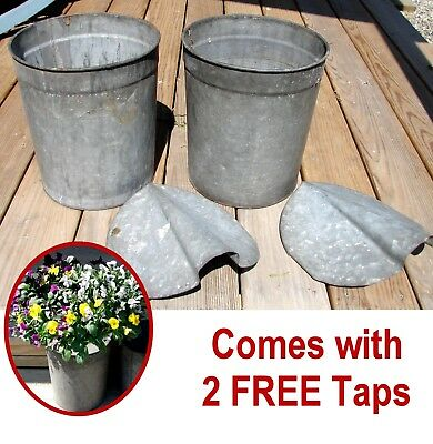2 Vintage VERMONT Maple Sap Buckets+Covers+Taps~Country Farmhouse~Spring Flowers