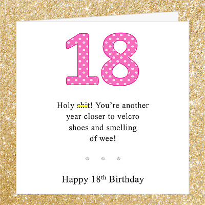 Funny Joke 18th Birthday Card BA01O Ideal 4 Daughter Sister Granddaughter Niece