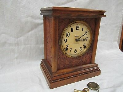 Rare Antique Vintage E. Ingraham Carved Wood 8 Day Chiming Mantle Clock Runswell
