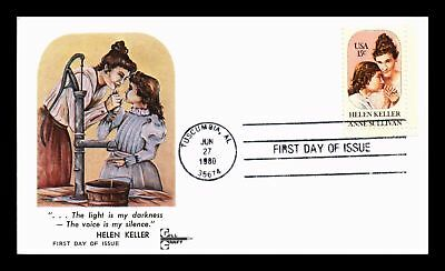 Dr Jim Stamps Us Helen Keller Anne Sullivan Gill Craft First Day Cover Tuscumbia