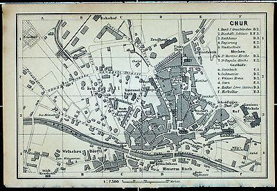 CHUR, alter Stadtplan, datiert 1901