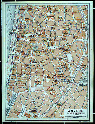ANTWERPEN (City), alter farbiger Stadtplan, datiert 1910 (Anvers)