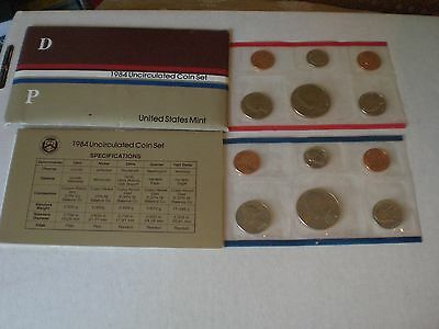 1984 Uncirculated U.S. Mint Set 10 Coins P and D Mint Marks