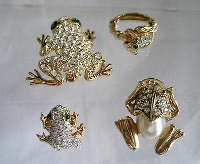 Set Of 4 Frogs Pins And Ring Rhinestones Faux Pearls Gold Tone Brooch