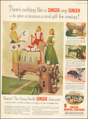 Vintage ad for Singer Sewing Centers retro machine photo red green dress  092217