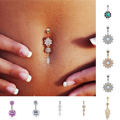 Body Piercing Barbell Double Heart Navel Ring Belly Button Crystal