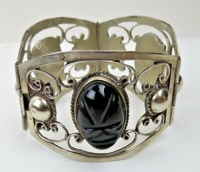 Wide Art Deco Hand Wrought Mexican Sterling Silver Carved Jet Mask Bracelet 7""