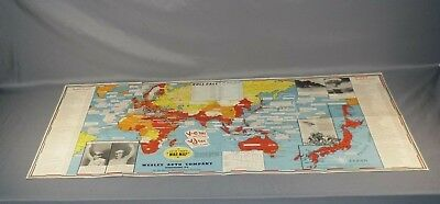 """Wwii 39""""x17"""" Dated Events Roll Call War Map - Wesley Auto Company Nanticoke, Pa"""