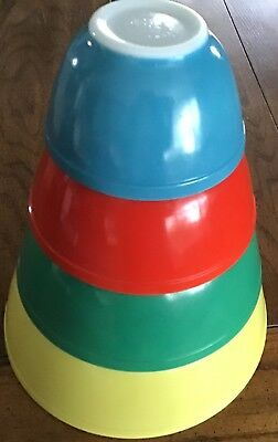 4 Vintage Pyrex Mixing Bowls Set Primary Colors (Turquoise)Blue Red Green Yellow