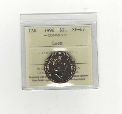 **1996** ICCS Graded Canadian, Loon, One Dollar, **SP-67**