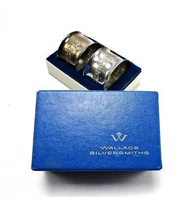 Vtg Wallace Silversmiths Sterling 45.5g Flourished Napkin Holders In Box CD1380