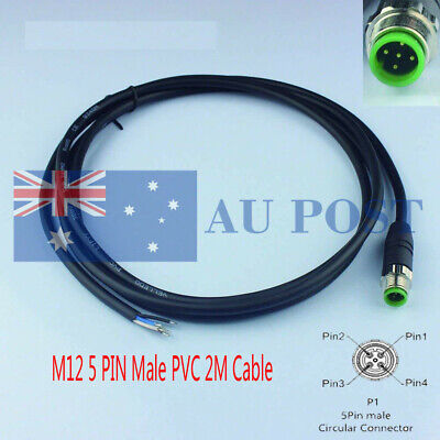 M12 Male Connector 5 Pin Plug 2M Single Ended Outlet Cable For Automatic Product