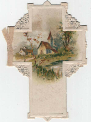 Embossed  Victorian Easter Greeting Card, Die-cut Cross,  Country Church, Verse