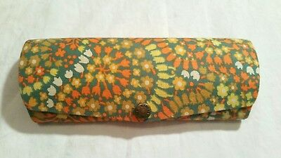 Vintage 1960s bright floral hippie eyeglasses case - made in England