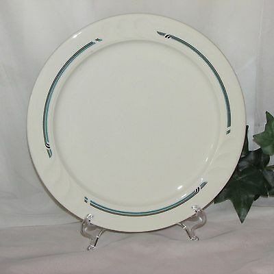Vintage Shenango Dinner Plate 393-10 Syracuse Black Aqua Bands Embossed 9 3/4""