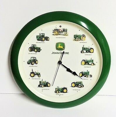 """John Deere Tractor Wall Clock with 12 Tractor Engine Sounds 13"""" Untested"""