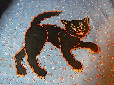 "Vintage Articulated Cardboard Halloween Cat   Made in USA 8"" Hight Tail to Toe"