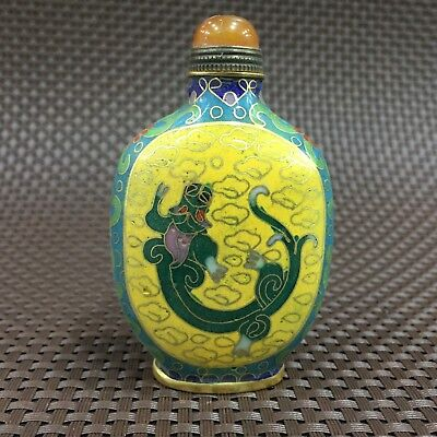 Rare Collectible Old Cloisonne Handwork Abstract Dragon Antique Snuff Bottle