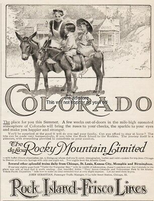 1909 Rock Island Frisco Lines DeLuxe Rocky Mountain Limited CO Mom Kids Mules Ad