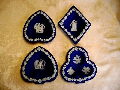 Rare Wedgwood Cobalt Blue Jasperware Diamond, Club, Heart & Spade Bridge Set