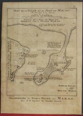 Macao China 1757 Bellin/van Schley Unusual Antique Copper Engraved City Map