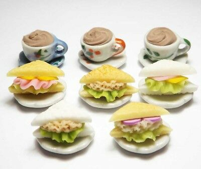Dollhouse Miniature Mixed Food with Coffee Cups Set * Doll Mini Sandwiches Drink