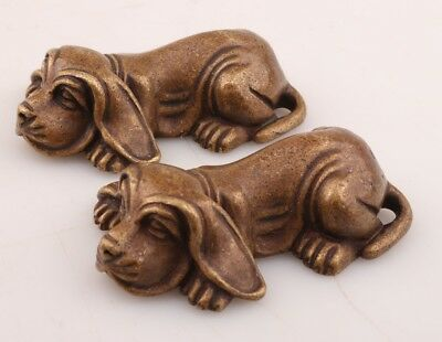 2 Unique China Bronze Statue Figurines Animal Dogs Solid Cast Gifts Collection