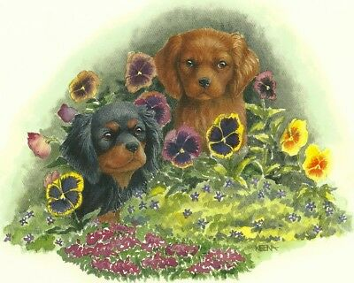 Ruby and Black/Tan, Cavalier King Charles Spaniel Puppies one blank note card