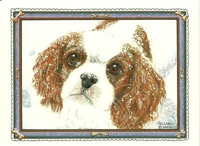 Cozy Snowflakes Blenheim Cavalier King Charles Spaniel blank note card Free Ship