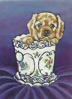 Derby a Ruby Cavalier King Charles Spaniel Puppy one blank note card