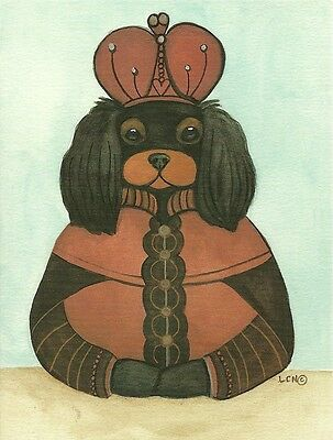 Black and Tan King Cavalier King Charles Spaniel blank note card