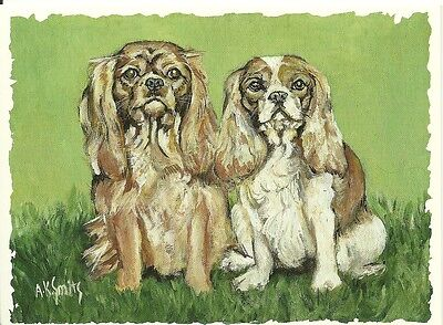 Little King and Queen,  Cavalier King Charles Spaniel blank note card free ship