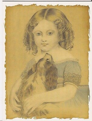 Victorian Girl & Blenheim Cavalier King Charles Spaniel one blank note card