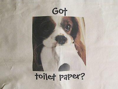 Got Toilet Paper? Huge Shopping Tote Bag  Cavalier King Charles Spaniel