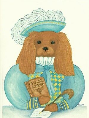 Cavalier Poet, Ruby Cavalier King Charles Spaniel one blank note card