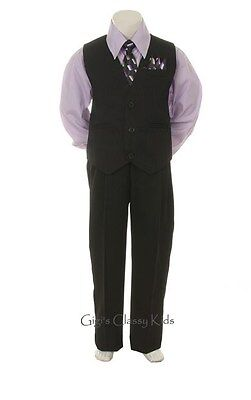 New Baby Toddler Boys Lilac & Black Vest Suit Outfit 4 Piece Christmas Wedding
