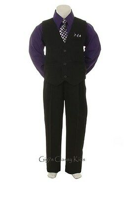 New Baby Toddler Boys Purple & Black Vest Suit Outfit 4 Piece Christmas Wedding