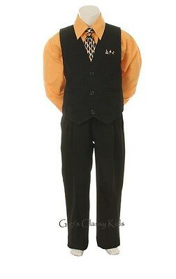 New Baby Toddler Youth Boys Orange & Black Vest Suit Outfit 4 Piece Wedding