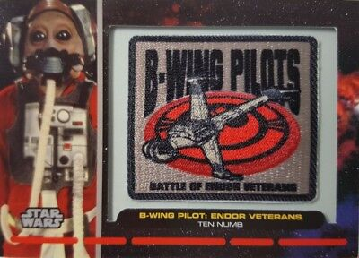 Star Wars 2012 GALACTIC FILES Embroidered Patch Card PR-29 B-WING TEN NUMB Endor