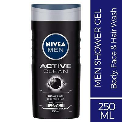 Nivea Men Active Clean Body Face And Hair Deep Cleansing Shower Gel 250ml