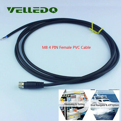 VELLEDQ 4 Pin Connector Female M8 Industrial Field 2m PVC Threaded Copper Cable