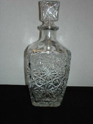 Vintage Liquor Wine Decanter Clear Glass Square with Stopper