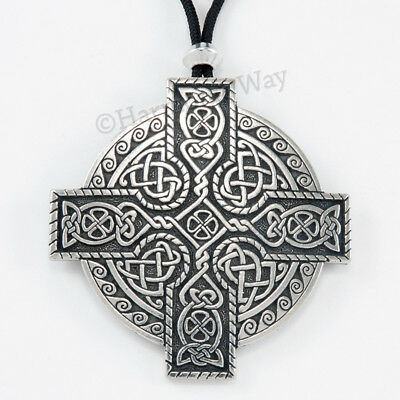 LARGE CELTIC CROSS Pendant Necklace DETAILED KNOT WORK