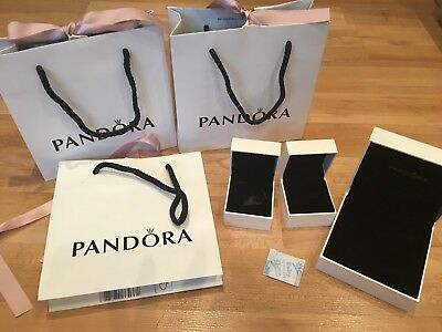 3 Pandora Bags With Ribbon, 2 Charm Boxes And A Bracelet Box