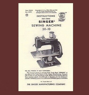 Singer 20 toy child sewhandy sewing machine INSTRUCTIONS 20-10